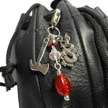 Dice bag clasp, battle axe or war hammer, dragon, Swarovski crystal, lampwork bead, AB bead, silver heart clasp, zipper pull, backpack clasp