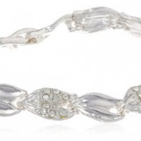 "Napier ""Giftable"" Silver-Tone Crystal Line Boxed Bracelet, 7"""
