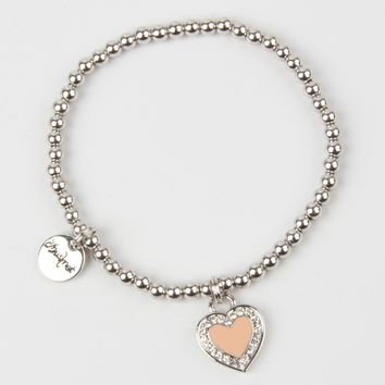 Nude Stone And Crystal Heart Pendant Chain Bracelet