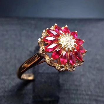 Ring.Luxurious big round Sunflower Natural red ruby gem Ring Natural gemstone ring S925 silver women wedding gift fine Jewelry
