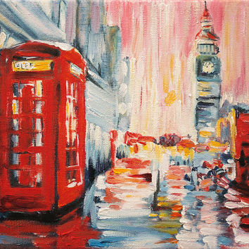 London Art Original Oil Painting Miniature Small Home Decor Hand Painted & Stretched