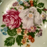 Vintage T. Limoge Hand Painted Trinket Dish, Floral Soap Dish, Small Decorative Bowl