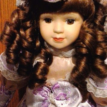 Collectors  Victorian Porcelain Bisque Doll Lace and Pearl Dress