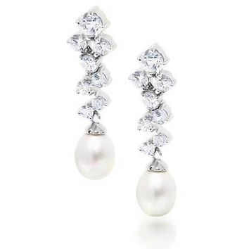 CZ White Freshwater Cultured Dangle Earrings Prom Sterling Silver