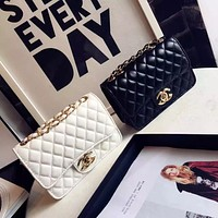 """Chanel"" Women Simple Fashion Glossy Lacquer Leather  Mini Metal Chain Single Shoulder Messenger Bag"