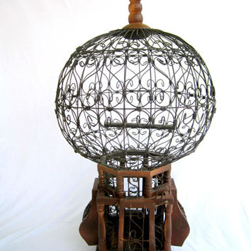 Victorian Birdcage Large Round Rustic Vintage Dome Wire Home Decor