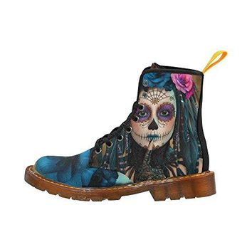 D-Story Shoes Sugar Skull Day Of The Dead Lace Up Martin Boots For Women