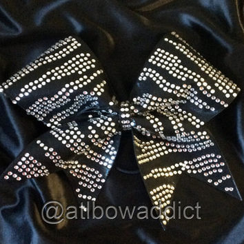 Cheer Bow - Zebra Rhinestone