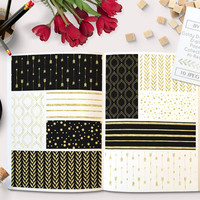 Black Gold White Digital Paper Pack with arrows, quatrefoil, leafs, confetti and stripes. Very chic and Festive for backgrounds, cards etc.