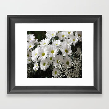 white flowers Framed Art Print by abeerhassan