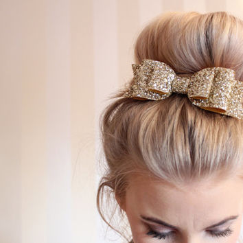Girl and adult Oversized gold glitter fabric bow hair clip - so Sparkly!!! Can be made in any colour!