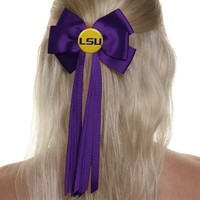 LSU Tigers Ribbon Hair Bow - Purple