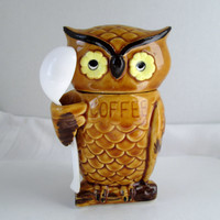 Vintage Owl Coffee Container