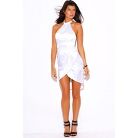 Posh Girl White Satin Halter High-Low Mini Dress