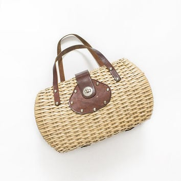 Vintage Basket Purse - 1950s Woven Wicker & Leather Top Handle Bag 50s