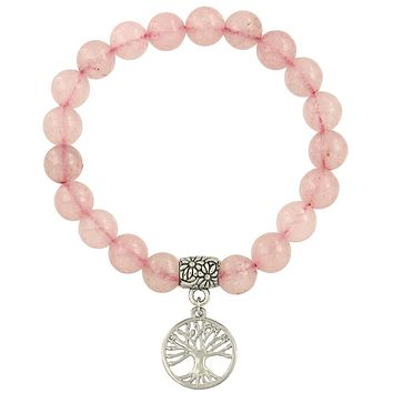Tree of Life Bracelet in Rose Quartz