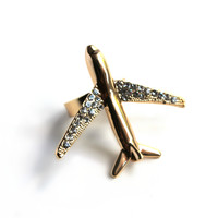 """No Passengers"" Gold Plane Ring"
