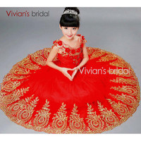Vivian's Bridal Red Tulle Flower Girl Dresses Gowns Flowergirls First Communion for Little Girls Pageant Dresses for Weddings