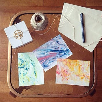 Watercolor Look Alike Cards with Abstract Marbling Design; Blank Inside; All Occasions
