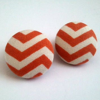 Orange rust and off white chevron button earrings