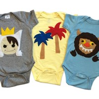 Where the Wild Things Are Baby Bodysuit Collection: Handmade Felt Appliqued Onesuits