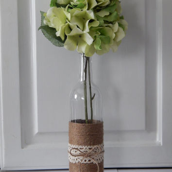 Rustic Wedding Decor - Wedding Centerpiece - Burlap Wedding Decor - Bottle Centerpiece