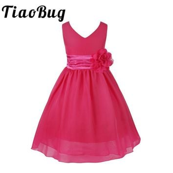 TiaoBug 2017 New Arrival Elegant Kids Baby Girls Party Dress Girls Clothes Flower Girls Dress Kids Chilren Baby Princess Dress