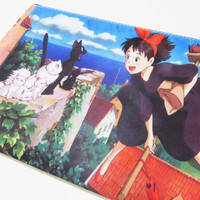 Kiki's Delivery Service Zipper Bag (iPad Mini Tablet Sleeve, Pencil Case, Cosmetic Make up Bag, Wallet) Hayao Miyazaki, Studio Ghilbi, Anime