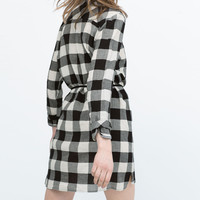 CHECKED SHIRT DRESS WITH BELT New