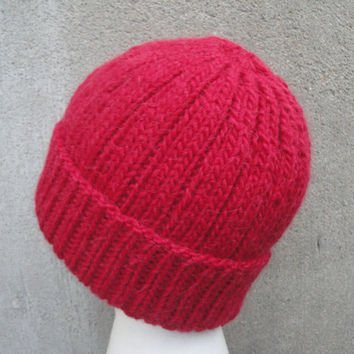Mens Beanie Hat, Red, Hand Knit Llama/Wool, Watch Cap, Warm Winter, Man Guys Teens