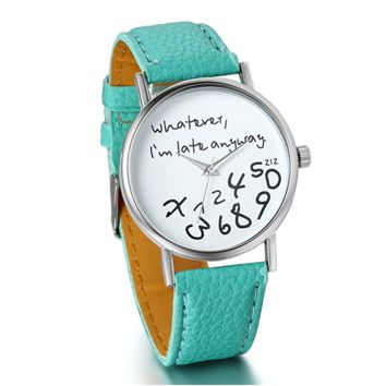 """Whatever, I'm late anyway"" Love Gift Leather Strap Watches Quartz Wrist Watch"