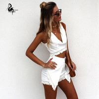 Woman Summer Two Piece Outfits Irregular cut Shorts 2016 beach wear Tassel Sexy White Crop v-neckTop And Shorts Pants set