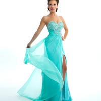 Mac Duggal Prom 2013 - Strapless Mint Chiffon Gown With Sequin & Rhinestone Embellishments - Unique Vintage - Cocktail, Pinup, Holiday & Prom Dresses.
