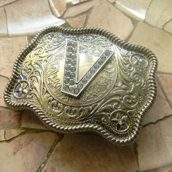 Monogram Letter V Personalized Silver Belt Buckle, Rhinestone Initial V Monogrammed Womens Mens Kids Western Belt Buckle, Custom Belt Buckle