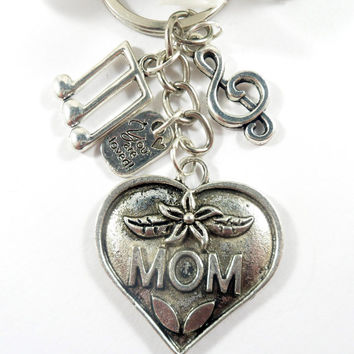 Silver Charm Mom Keychain, You are Loved & Music Notes Silver Keychain, Mom Charm Keychain, Heart Keychain, Gift for Mom Key Chain