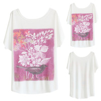 White Floral Printed Bird Short Sleeve T-Shirt