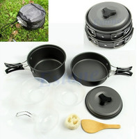 8pcs Outdoor Camping Hiking Cookware Backpacking Cooking Picnic Bowl Pot Pan Set 106-09-00244 (Size: 0, Color: Black)