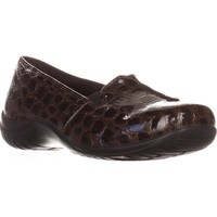 Easy Street Purpose Slip-On Flats, Brown Patent Croc, 7.5 US