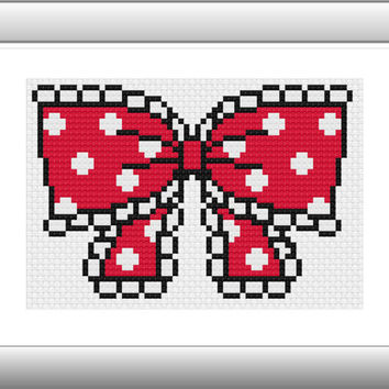 Cross Stitch Pattern Modern, Bow DZ002, Buy 2 Get 1 Free, Small Cross Stitch, Patterns pdf, Chinese Cross Stitch,  AprilBeeShop