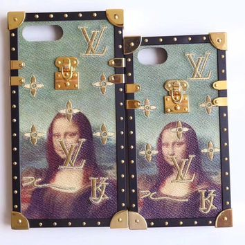 LV 2017 Hot Sale!Trending iPhone X iPhone 8 iPhone 7 iPhone 7 plus - Stylish Cute Mona Lisa Embroidery Pattern Print On Sale Hot Deal Matte Couple Phone Case For iphone 6 6s 6plus 6s plus I-AL-BSYHD-1