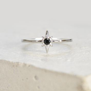 North Star Ring - Silver + Black
