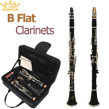 SLADE Latest European Designed Band B Flat Clarinet + 10 Reeds Black Student Clarinet
