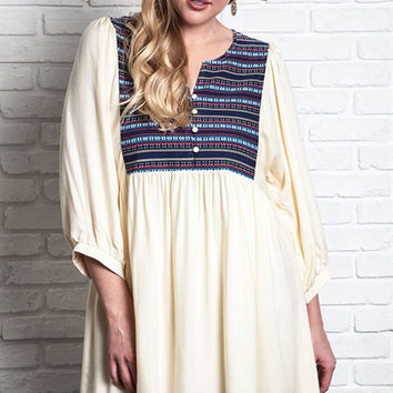 Embroidered Peasant Dress - Ivory