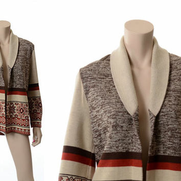 Vintage 70s Southwestern Tribal Space Dye Sweater 1970s Shawl Collar Knit Cardigan Indian Hippie Boho Jacket / Medium