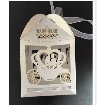 Laser Cinderella Enchanted Carriage Marriage , pumpkin carriage Wedding Favor Boxes Candy