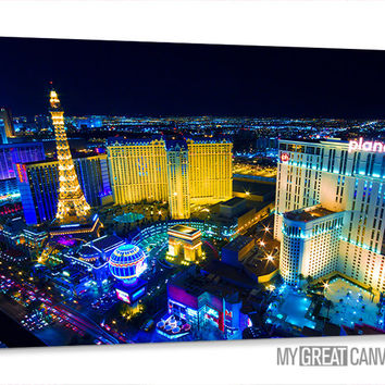 Large Wall Art Canvas Night Las Vegas City Skyline Canvas Prints | Vegas Art Canvas | Vegas Casinos Canvas Painting