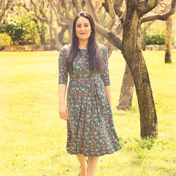 Blue floral dress – Holiday dress - Modest midi dress for women