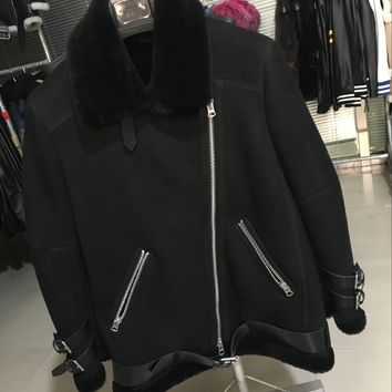 Leather And Shearling Motercycle Jacket