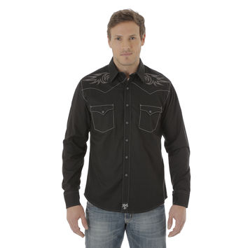 Wrangler Rock 47 Men's Long Sleeve Western Snap Shirt Black