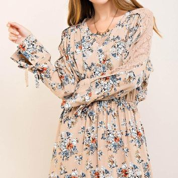 Taupe Floral Peep Lace Dress
